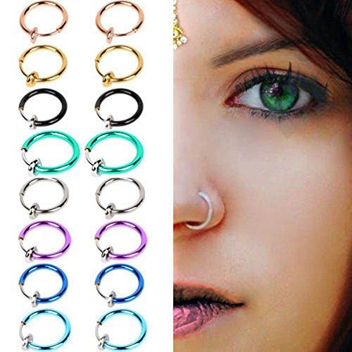 NgratyhJohn - Pendientes de aro de plata para niñas, 2 piezas de clip falso en la primavera de la nariz del tabique no perfora joyas unisex – oro rosa