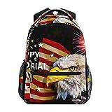 Mochila escolar Happy Memorial Day Bald Eagle con bandera estadounidense de gran capacidad, de lona, para niños, adultos, adolescentes, mujeres y hombres