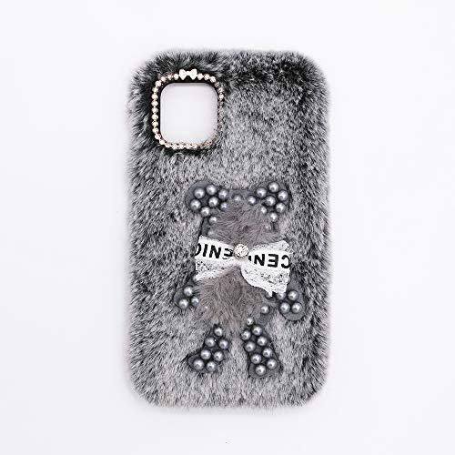 YHY Funda Teléfono Pearl Bear Plush para Motorola Moto Edge S 5G Carcasa De Felpa De Silicona Suave y Elegante La Piel Gris Oscuro