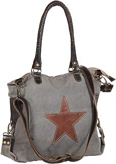 vidaXL vidaXL Einkaufstasche Umhängetasche Damentasche Schultertasche Tragetasche Einkaufsbeutel Handtasche Shopper Dunkelgrau 41x63cm Segeltuch Echtleder