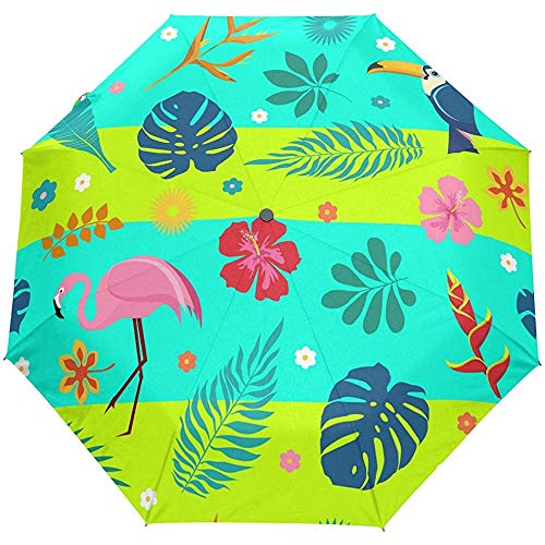 Sommer Tropical Floral Flowers Flamingo Auto Öffnen Schließen Regenschirme Anti UV Folding Compact Automatic Umbrella