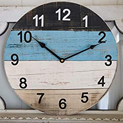 Large Wall Clock, 18 Inch Rustic Distressed Blue Wooden Beach Board Shiplap Decorative Clock, Silent Farmhouse Indoor Wall Clock for Living Room, Den, Bedroom, Kitchen, Apartment (4 Colors Spliced)
