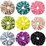 9 Packs Big Scrunchies for Hair Silk Hair Scrunchies for Women and Girl Oversize Elastic Hair Ties Solid Color Large Scrunchies Ponytail Holder Scrunchies Ropes Bobbles Hair Accessories