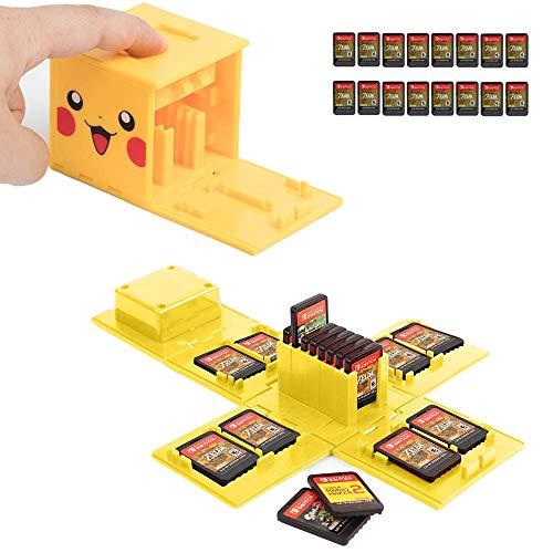 JEETA Étui pour Carte mémoire Nintendo Switch, de Rangement de Protection Organisateur de Cartes de Jeu Étui Rigide avec 16 emplacements,Étui de Rangement pour Jeux Nintendo Switch (Pikachu Jaune)