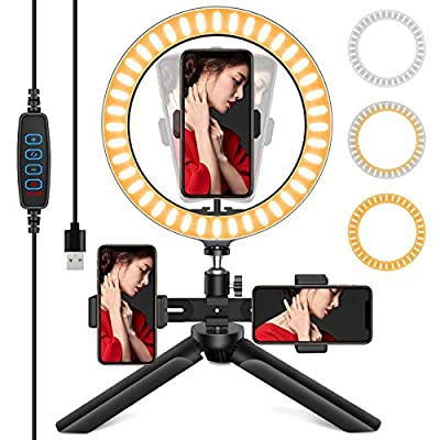 Selfie Ring Light with Tripod Stand, 3 Phone Holders