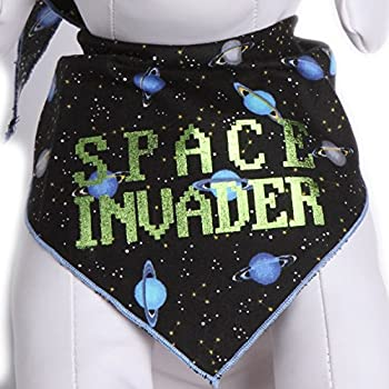 Tail Trends Dog Bandanas Space Invader Retro Games Design fits Most Medium to Large Sized Dogs
