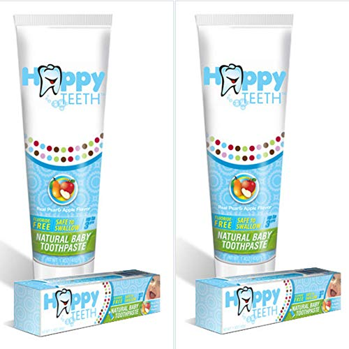 Happy Teeth Natural Baby and Toddler Toothpaste, Fluoride Free and Sulfate Free, Natural Pear Apple Flavor, No Preservatives, Safe to Swallow, Clean Baby Toothpaste for Ages 3 and Under, 2 Pack