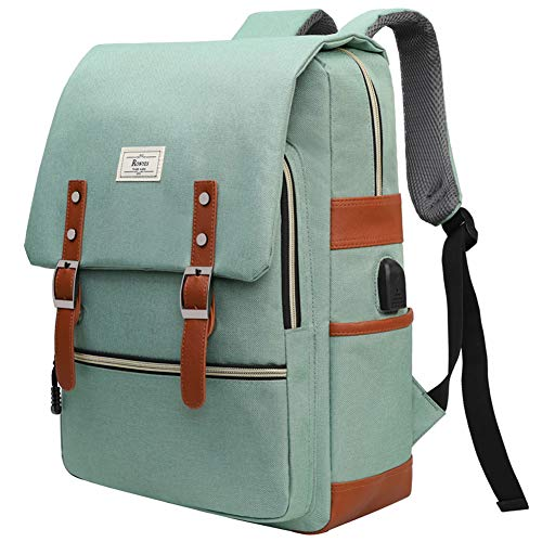 Ronyes Unisex College Bag Bookbags for Women Fits up to 15.6'' Laptop Casual Rucksack School Backpack Daypacks (LightGreen)