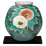 九谷焼 10号花瓶 紅白牡丹(台付)