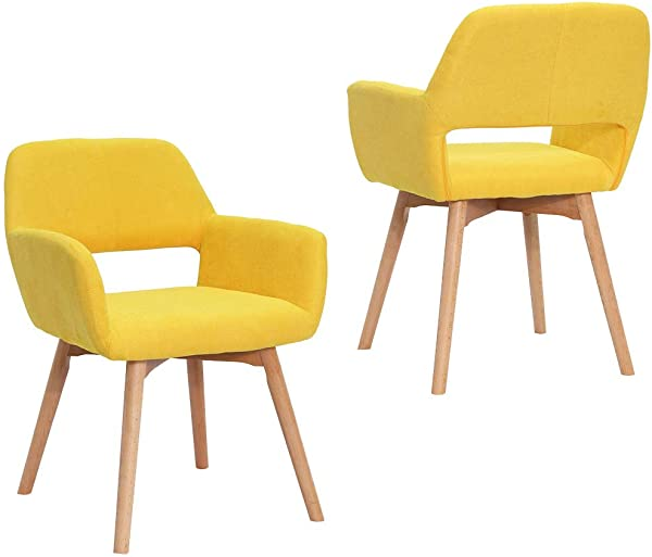 Modern Design Fabric Accent Chair Dining Chair W Solid Wood Leg Living Room Bright Yellow Set Of 2