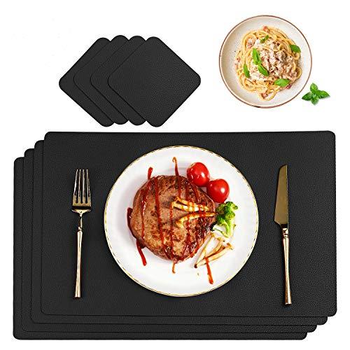 CHONLY Tischset Leder Platzset PU Kunstleder 4er Sets Abwischbare wasserdichte Platzdecken Lederoptik 45x30cm und Glasuntersetzer Rund Geschenke Kiste für Hause Küche Restaurant und Hotel