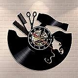 fdgdfgd Diseño Reloj Peine Tijeras secador de Pelo salón de Belleza Reloj de Pared peluquería Reloj de Vinilo peluquería | Reloj Que Cambia de Color decoración Fresca