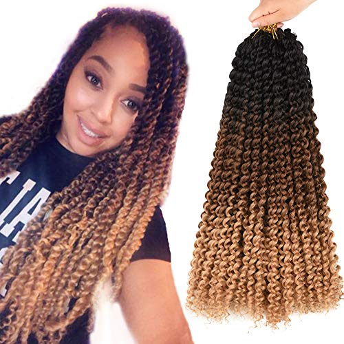 AliRobam18inch Water Wave Passion Twist hair Crochet Braids Braiding Hair Weave 6packs 22Roots Synthetic Passion Twist Crochet Braid Hair Extensions (18INCH Black-dark brown-light brown)