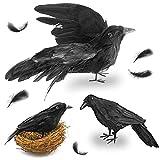 FUTUREPLUSX Black Crows Halloween, 3PCS Fake Crow with Bird's Nest Handmade Artificial Crow Crow Decoys Fake Raven Feathered Realistic Crows