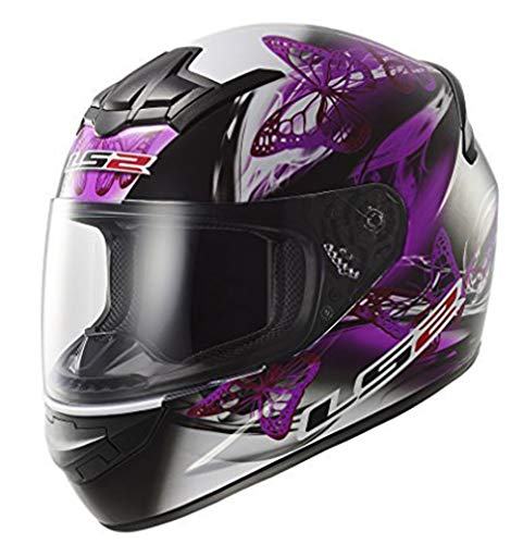 LS2 FF351 FF352 flattern Pink Lila Damen Integral Motorrad Helm - Schwarz, Small