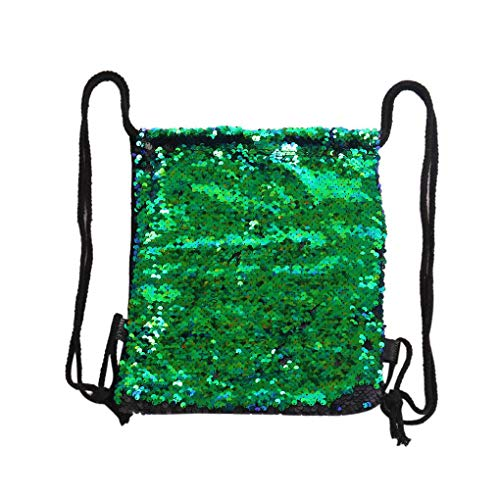 Floridivy Vrouwen Pailletten String Backpack omkeerbare Glitter Koord Tassen, Sport School Rugzak, Reizen Pailletten Travel Sports School Backpack