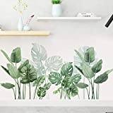 Green Plants Leaf Wall Stickers - Tropical Plants Removable Wall Decals for Family Living Room Background Wall Decoration Kids Bedroom Kitchen Office Girl Room Potted Wallpaper