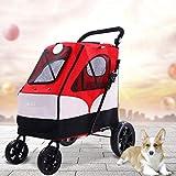 TELLMNZ Hunde-Mobilitätsgeschirr, Kinderwagen, Hunderollstuhl Großer Kinderwagen Großer Hundewagen Klappbares großes Raumlager 55 kg Für den ausgehenden Gebrauch, 4 Räder (Farbe: Rot)