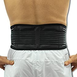 A man wearing the heat pack around his lower back
