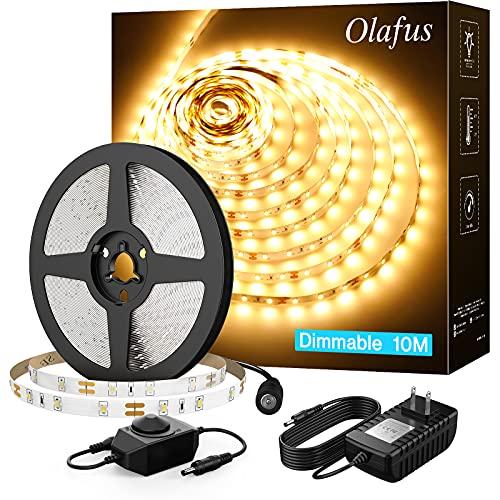 Olafus 32.8ft LED Strip Lights Warm White Dimmable, 12V Flexible Soft Tape Lights, Under Cabinet Led Strip Lighting, Bright 600 LEDs 2835, 10m 3000K, Lighting for Indoor Bedroom, UL Listed Plug Supply