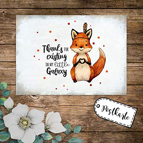 ilka parey wandtattoo-welt A6 Postkarte Print Fuchs Indianerfuchs Spruch Thanks for existing in My Little Galaxy Karte Grußkarte Punkte pk236 - ausgewählte Menge: *10 Stück (desselben Motives)*