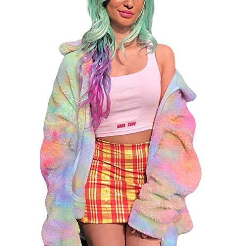 Gaetooely OtooO Invierno Nuevas Mujeres Sudadera Peluda Tie Dye Zip Up Chaquetas CáLidas de Gran TamaaO Abrigos Casuales Femeninos M