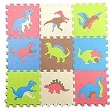 Elenxs 9pcs Puzzle Dinosaurio Mat Enclavamiento Piso del cojín Establece para el bebé Que Juega al Juego de Arrastre