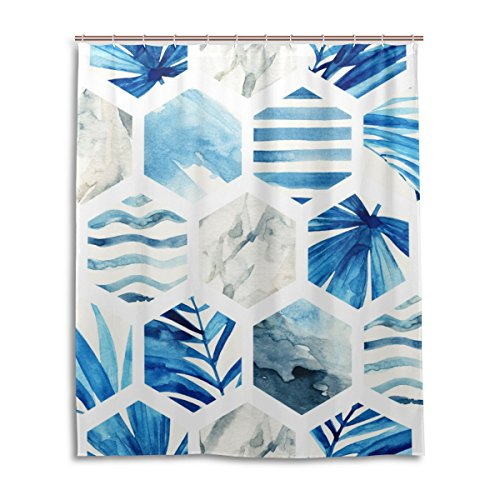 My Daily Sechseck mit Palm Blätter und Streifen Vorhang für die Dusche 152,4x 182,9cm, schimmelresistent & Wasserdicht Polyester Dekoration Badezimmer Vorhang, Polyester, multi, 60x72