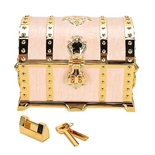 JOMOSIN SNH0216 Caja de almacenamiento de joyas, sin decoloración, duradera, con relieve, estilo vintage, para almacenamiento de collar y pendientes, con cerradura para almacenar pendientes y collares