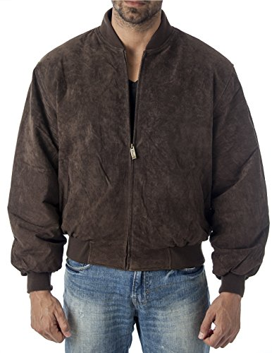 REED Baseball Suede Leather Bomber Jacket Est. 1950 (Imported) (XL, Brown)