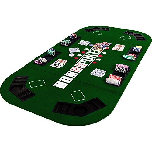 Maxstore Faltbare XXL Pokerauflage für bis zu 8 Spieler, Maße 160×80 cm, MDF Platte, 8 Getränkehalter, 8 Chiptrays, grün - 9