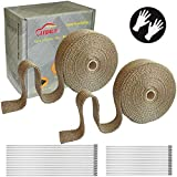 LEDAUT 2 Roll 2' x 50' Titanium Exhaust Heat Wrap Roll for Motorcycle Fiberglass Heat Shield Tape with Stainless Ties