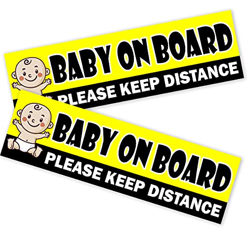 2PCs Baby On Board Sticker for Cars - Baby Bumper Stickers - Baby On Board Keep Distance Stickers - Kids On Board Car Sticker - Baby On Board Sign - Babies On Board Sticker for Cars - 10