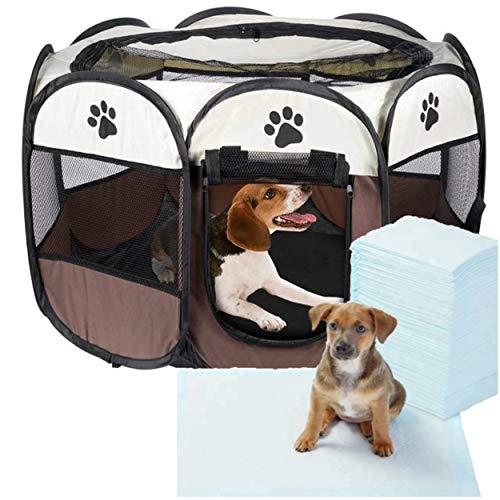 Box cane gatto gatto + tappetino educativo pulizia piccoli animali domestici protezione cucciolo coniglio Dimensioni: 80 x 80 x 60 cm, recinto pieghevole recinto porta tetto esterno interno