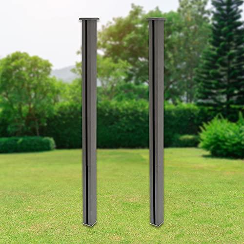 ML-Design 2x WPC Pfosten für WPC Sichtschutzzaun 185 cm Grau inkl. Schrauben, Bodenanker (zum Verschrauben), Zierkappe, robust, Stecksystem, Pfeiler Pfahl, Zaunpfosten, WPC-Zaun, Gartenzaun, Steckzaun