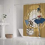 N\A Kuizee Cortina de Ducha Impermeable Grammofon Cabaret Singer Retro Miss American Cortinas de baño Decoración de poliéster BañoInch Cortina de baño Repelente al Agua Fácil de Instalar