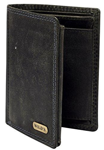 Herren Ledergeldbörse aus echtem Leder Hochformat Portemonnaie Geldbeutel Brieftasche Männer Geldtasche Rindsleder 1599 (Schwarz)