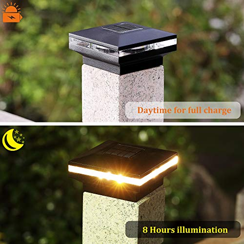 MAGGIFT 15 Lumen Solar Post Lights, Outdoor Post Cap Light for Fence Deck or Patio, Solar Powered Caps, Warm White High Brightness SMD LED Lighting, Lamp Fits 4x4 or 6x6 Wooden Posts, 2 Pack