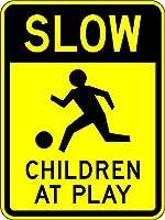 安全標識-遊んでいる子供たち。インチの金属錫標識UV保護および耐候性、通知警告標識