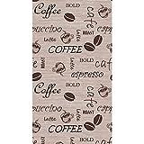Special Carpets Teppich Modern Flachgewebe Gel Läufer Küchenteppich Küchenläufer Braun Beige Schwarz mit Schriftzug Coffee Cappuccino Espresso Latte Größe 67x180 cm