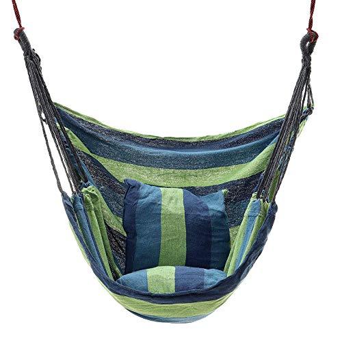 Wyxy Silla Colgante Lona Columpio Hamaca Silla Colgante Exterior Interior Hamaca Asiento para Acampar al Aire Libre Duradero/Azul / 100 cm x 133 cm