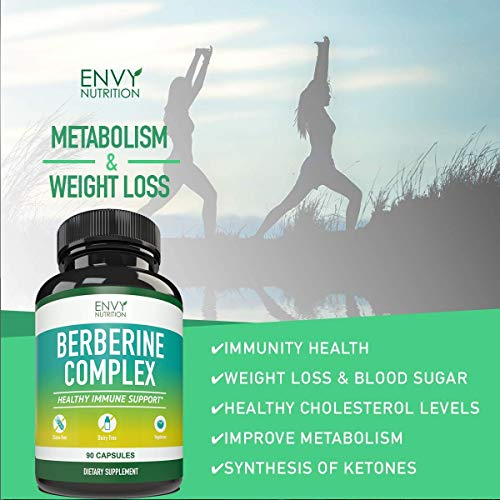 Berberine Complex Supplement - Supports Healthy Blood Sugar Level, Heart Health, Immune System and Weight Loss - 90 Capsules