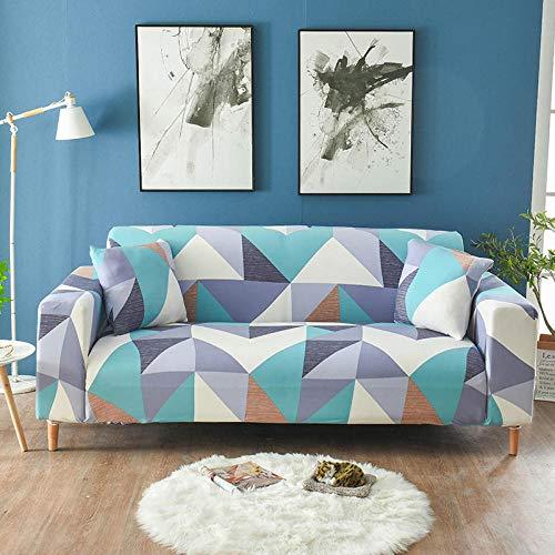AKTYGB Primavera Funda para Sofá Elasticas,3D Lmpresión Protector Cubierta de Muebles(Gratis 2 Funda de Cojines) Sala Muebles Fundas Decorativas para Sofás - 1 2 3 4 Plazas Rejilla Azul y Blanca
