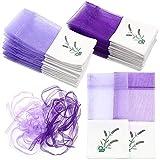 DELSEN 30 Piezas Lavender Sachets Púrpura Bolsitas Bolsas Vacías con Estampado de Flores Bolsita Organza para Lavanda Especias y Hierbas
