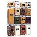 Vtopmart Airtight Food Storage Containers Set with Lids, 15pcs BPA Free Plastic Dry Food Canisters for Kitchen Pantry Organization and Storage, Dishwasher safe,Include 24 Labels, Black