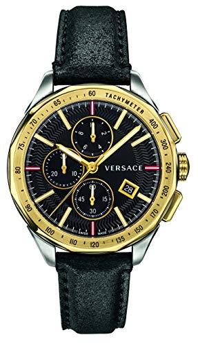 Versace Herren Uhr Armbanduhr Chronograph Glaze Leder VEBJ00218
