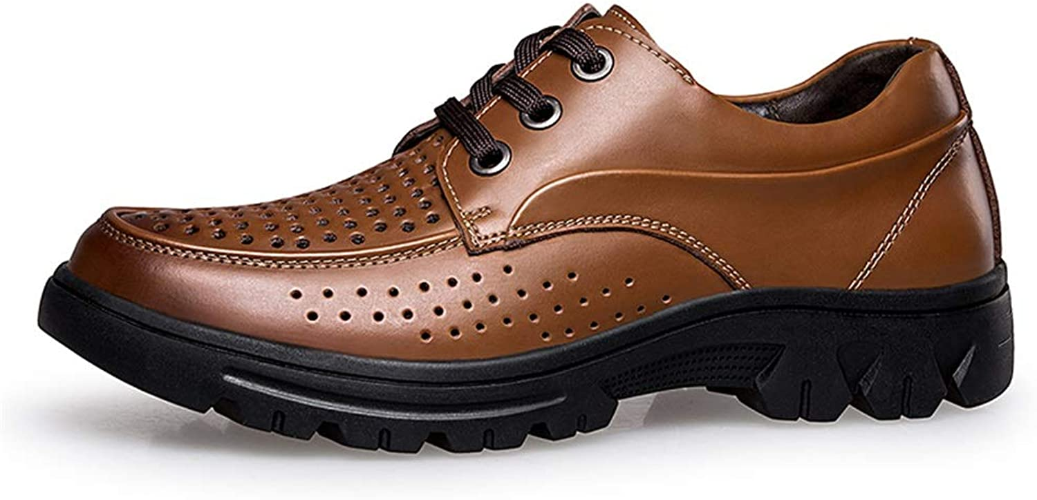 CHENXD shoes, Men's Perforated Oxford Casual Strong Anti Slip Outsole shoes Genuine Leather Lining Lace up Style Easy on & Off
