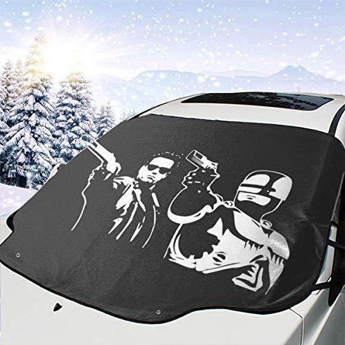 GOSMAO Auto-Windschutzscheiben-Abdeckung mit Totenkopf- und Blumen-Motiv, Sonnenschutz, UV-Schutz, Staubschutz, Frost, Schnee, Eis, für jedes Wetter, 147 x 118 cm