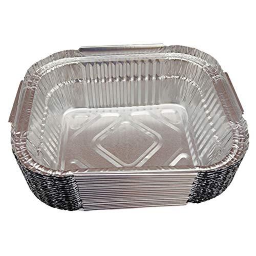 #N/A Aluschalen Set Aluminium Menüschalen eckig rund Tropfschalen Grillschalen zum Backen, Kochen, Einfrieren und Aufbewahren von Lebensmittel - 410ml, 20Pcs