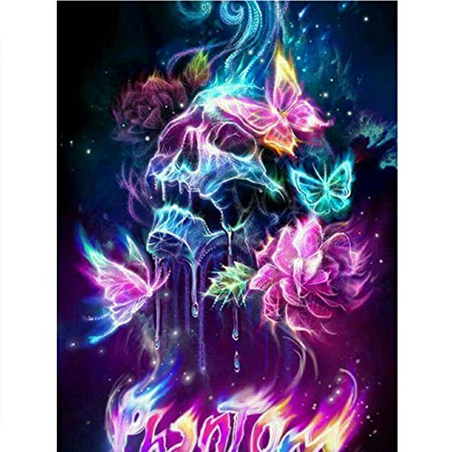 UPMALL DIY 5D Diamond Painting by Number Kits, Full Drill Crystal Rhinestone Embroidery Pictures Arts Craft for Home Wall Decoration Skull 11.8×15.7 Inches